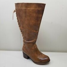 Torrid 9W Distressed Lace Up Back Knee High Riding Boots Wide Calf Cognac Brown