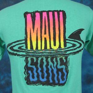 vintage 90s MAUI & SONS SHARK SUNSET T-Shirt XS/S surf beach skate hawaii thin