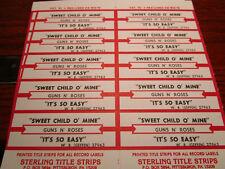 Jukebox Title Strip Full Sheet GUNS N ROSES Sweet Child O Mine/It's So Easy