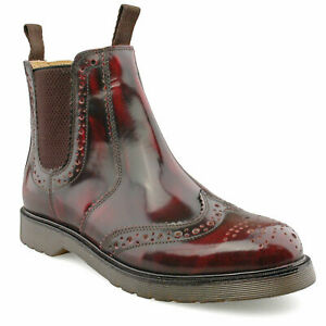 CHELSEA BROUGE BOOTS, BURNISHED RED LEATHER, CLASSIC VINTAGE STYLE, MOD, SOUL