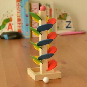 Baby Montessori Wooden Blocks Tree Marble Ball Run Track Kids Educational Toys