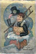 Postcard Romania novelty La multi ani fantasy luck stars roof pig hat man snow