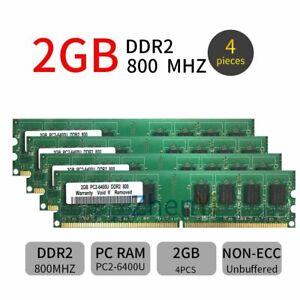 8GB Kit 4x 2GB DDR2 PC2-6400U 800MHz 240Pin intel Desktop RAM DIMM Memory Green