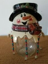 Winter Snowman Ceramic Candle Jar Lid Topper Hanging Beads