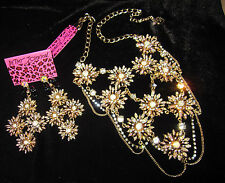 BETSEY JOHNSON ICONIC ENCHANTED GARDEN STATEMENT NECKLACE AND EARRINGS
