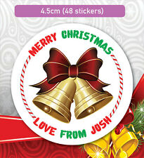 48 Christmas Party Bag Stickers Sweet cone Labels Xmas Bell present Personalised