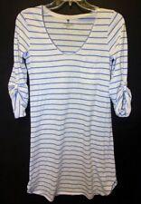 Victoria's Secret Womens Sz S Sleepshirt 3/4 Sleeve Blue White Striped