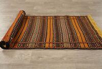 Decorative 2x7 Geometric Kilim Oriental Hand-Woven Narrow Runner Rug Wool Carpet