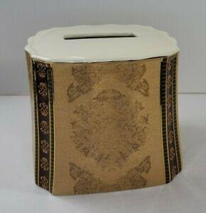 Croscill Townhouse Gold Green Burgundy Tissue Box Cover Damask Ornate Ceramic