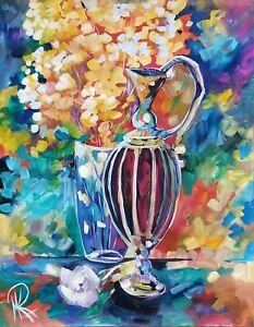 MARINA REHRMANN Original Impressionism Painting Flowers Rose Tulip Vase Art 🧿🧿