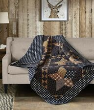 PADUCAH STAR THROW : COUNTRY CABIN LODGE BROWN BLACK PLAID QUILTED BLANKET