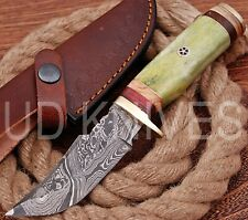 UD HANDMADE FIXED BLADE DAMASCUS ART HUNTER SKINNER KNIF CAMEL BONE HANDLE 10221