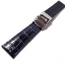cinturino doppia chiusura modello omega breitling pelle stampa cocco 18 mm blu