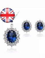 Stayeal Women Princess Blue Sapphire Pendant Necklace Earrings Set. UK SELLER -