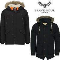 Mens Brave Soul Parka Parker Padded Quilted Winter Jacket Faux Fur Hooded Coat