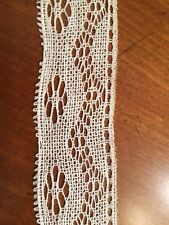 Antique 19th C. Handmade Needle Lace Floral Design COLLECTOR Piece Ivory 6 Yards