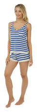 Ladies Womens Blue & White Striped Shorty Pyjama Set - SIZE 8 10 12 18 20 22