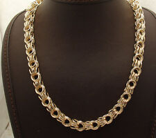 "18"" Technibond Square Byzantine Chain Necklace 14K Yellow Gold Clad Silver"