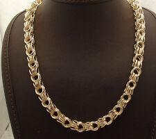 "18"" Technibond Square Byzantine Chain Necklace 14K Yellow Gold Clad Silver"