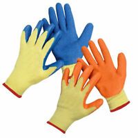 PAIRS LATEX COATED BUILDER SAFETY GRIP WORK GLOVES MENS RUBBER GARDENING GLOVE