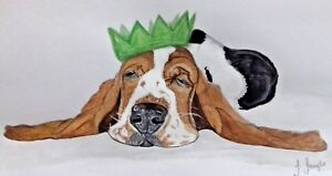 Lovely Basset Hound Partied Out Blank Card suitable for any occasion
