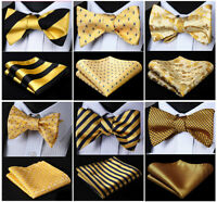 17 Style Gold Yellow Men's Self Bow Tie Woven Silk Plaid Solid Pocket Square Set