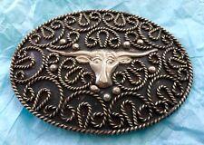 Vintage *LONGHORN STEER & LASSO ROPE* Western Alpaca BELT BUCKLE-- Cowboy, Rodeo