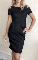 Karen Millen Pencil Wiggle Dress Black Grey Uk 10  12 Fitted Cold Shoulders