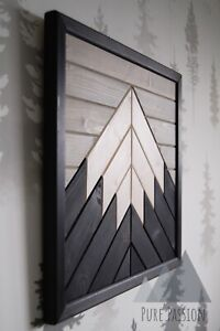 Mountain Wooden Wall Art White Peak - Single, Ebony