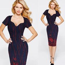 """Jordan"" Stunning Elegant Ladies Size 14 Navy Blue & Red Sparkle Bodycon Fitted"