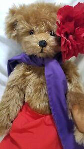 "Betty Lanyon ""Flowers"" OOAK artist teddy bear mohair Tahitian inspired Betsy Boo"