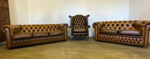 CHESTERFIELD SUITE 2 AND 3 SEATER SOFAS AND A QUEEN ANN CHAIR IN ANTIQUE TAN