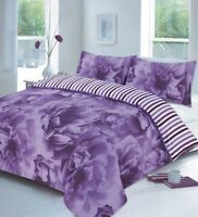Luxury Design Rose Lilac Floral Duvet Cover Set Bedding w/ Pillowcases Bed Cover