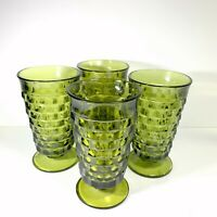 Set of 4 Indiana Whitehall 12 oz Footed Tumblers Avocado Green Glass Cubist
