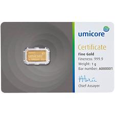 UMICORE 1 g GRAM Fine Gold Bar Bullion 999.9 - Free p&p