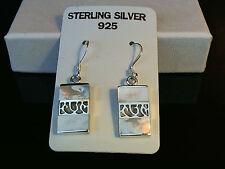 Mother of Pearl Inlay Drop Earrings in Solid 925 Sterling Silver - 5.1 Grams