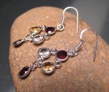 925 sterling silver CUT GARNET/CITRINE/TOPAZ GEMSTONE earrings.Gift bag.