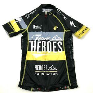 LIVESTRONG Cycling Jersey Size 2XS XXS Full Zip Shirt Black HEROES FOUNDATION