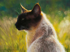 ORIGINAL Pastel Drawing of a Siamese CAT, Animal, Pet, Portrait by Paul Hinks