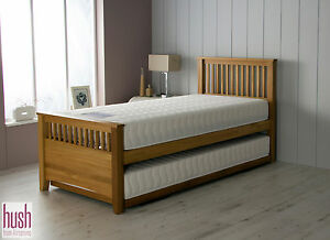 Solid Wood Bed Single With Pull Out Trundle Oak Guest Bed Mattress Option Hush