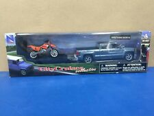 New Ray Chevy Silverado 1500 Orange Dirt Bike Kids Toy DieCast Replicas 19535A