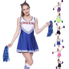 f58d7d358f45 Women Cheerleader Uniform School Girl Fancy Dress Costume Outfit Pompom or  Socks