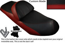 DARK RED & BLACK CUSTOM FITS SUZUKI BURGMAN AN 400 98-01 DUAL LEATHER SEAT COVER