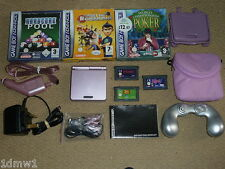 NINTENDO GAMEBOY ADVANCE SP CONSOLE in Pink + 6 GAMES CASES CAR MAINS CHARGERS
