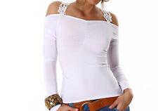 Stretchshirt Shirt  langarm weiss weiß  Gr.36/38  Damen Rücken Spitze