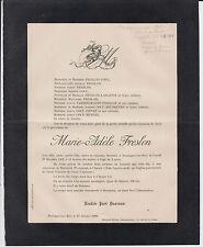§ 1902 FAIRE-PART DÉCÈS Marie-Adèle FRESLON - Boulogne-sur-Mer (Pas-de-Calais) §