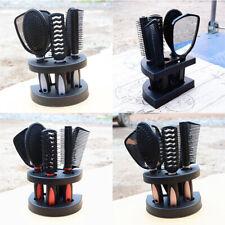 5pcs Women Ladies Hair Brush Massage Comb Holder Set With Mirror Stand Holder