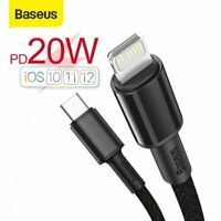 Baseus 20W PD Type C Quick Charger Cable Data Cord Lead for iPhone 12 11 Pro Max