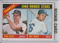 1966 Topps Baseball New York Yankees Rookies Card #234 NM White & Beck