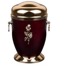 UNIQUES rouge métal Urne de crémation pour cendres avec rose Mémorial adulte
